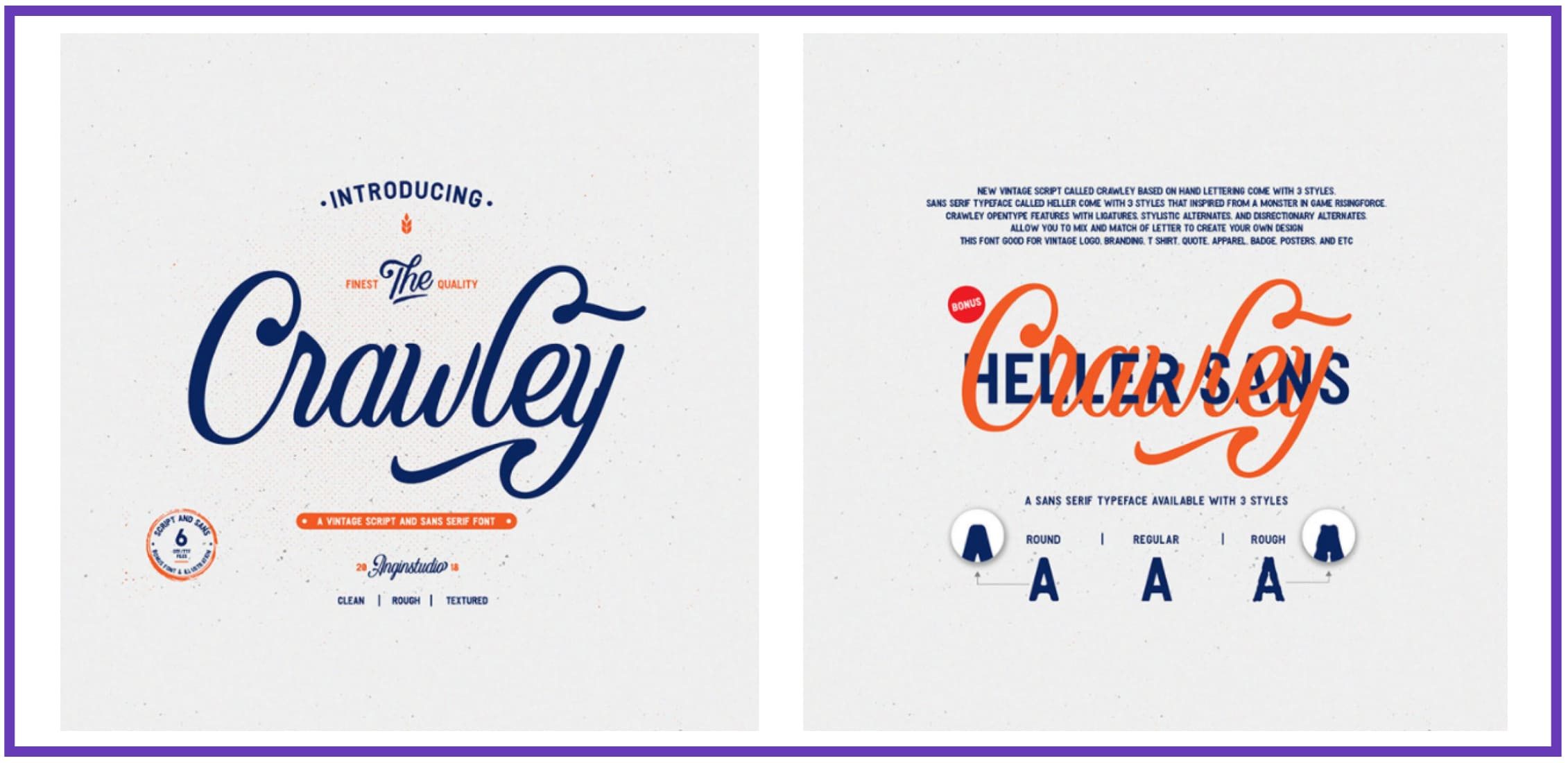 Crawley Textured Font Duo + Illustration. Best Industrial Fonts.