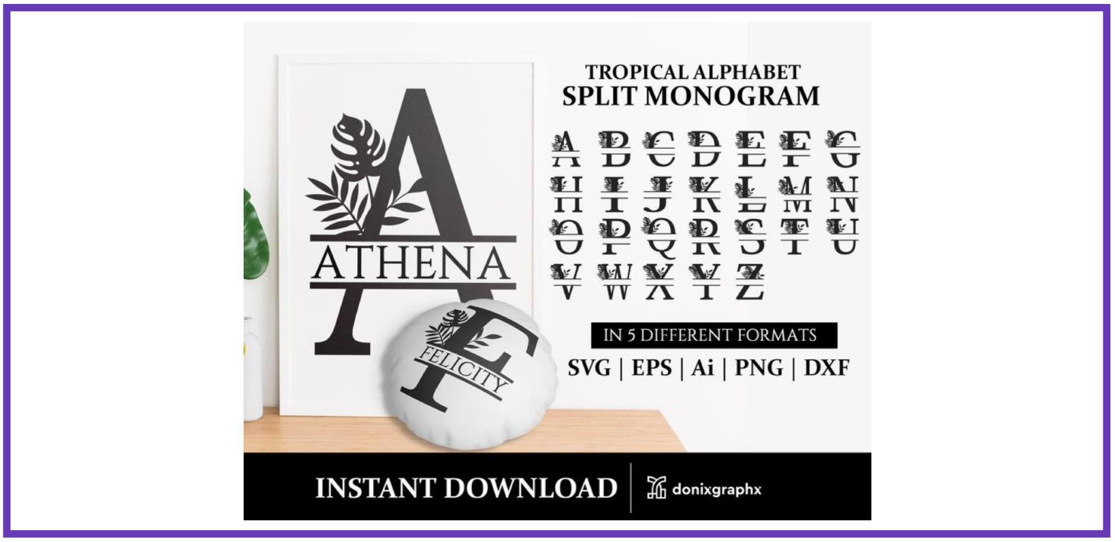 Split Monogram Tropical font SVG. Tropical Font.