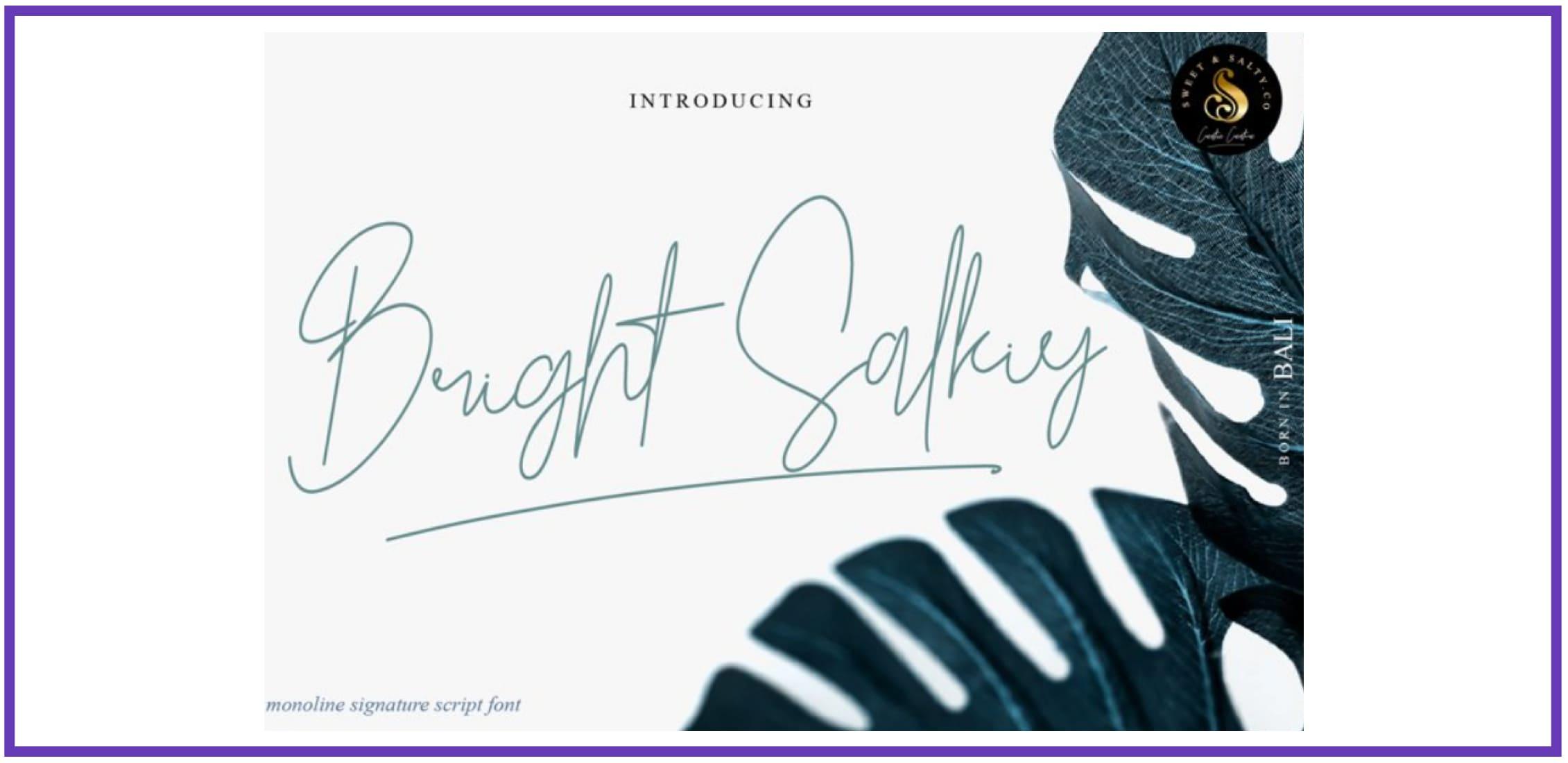 Bright Salkiy. Tropical Font.