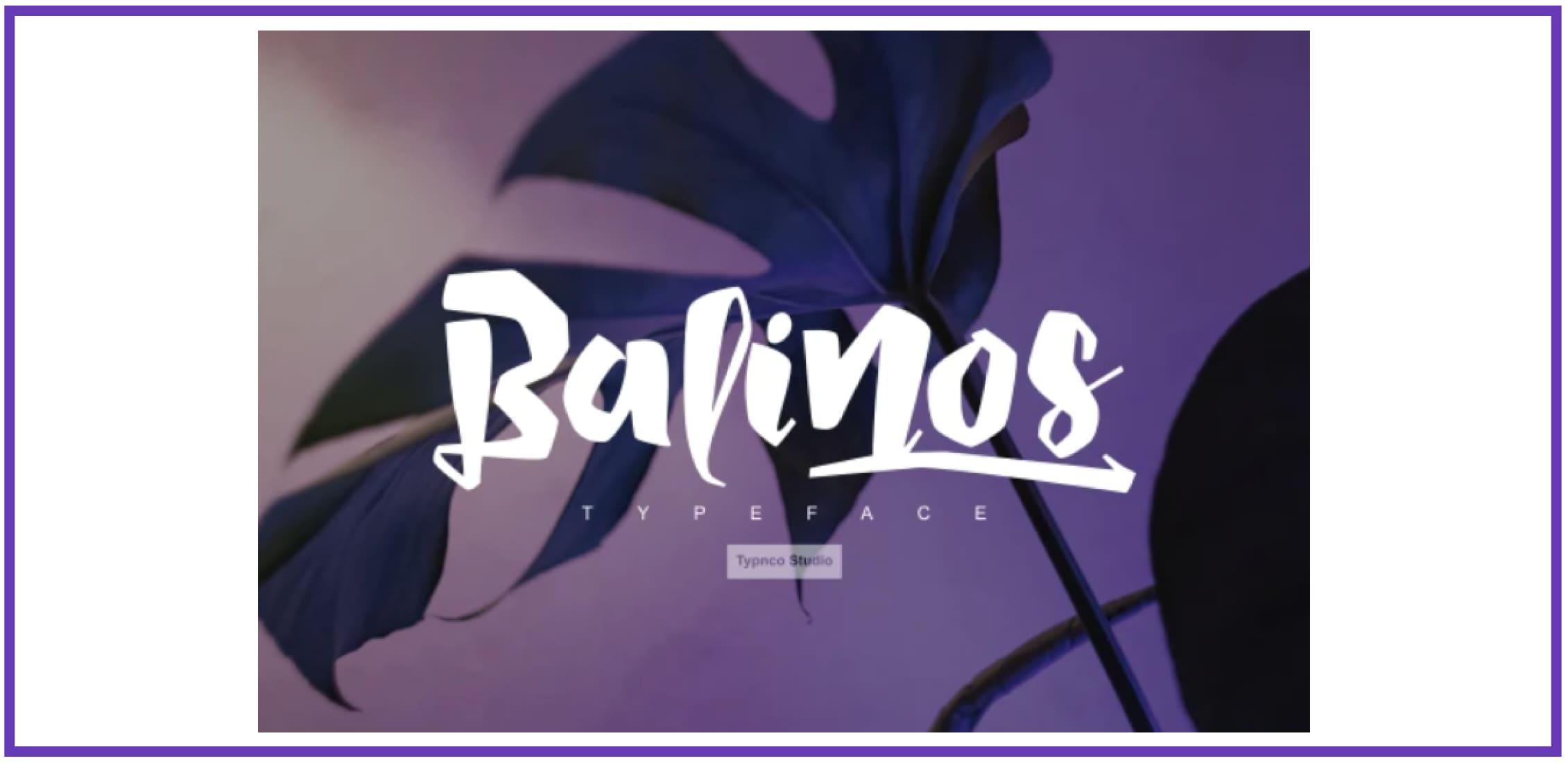 Balinos displat Font. Tropical Font.
