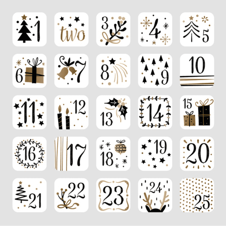 150+ Free Christmas Graphics: Fonts, Images, Vectors, Patterns & Premium Bundles - christmas advent calendar template 1