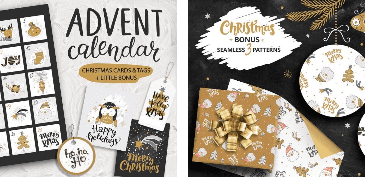 150+ Free Christmas Graphics: Fonts, Images, Vectors, Patterns & Premium Bundles - christmas advent calendar template 10