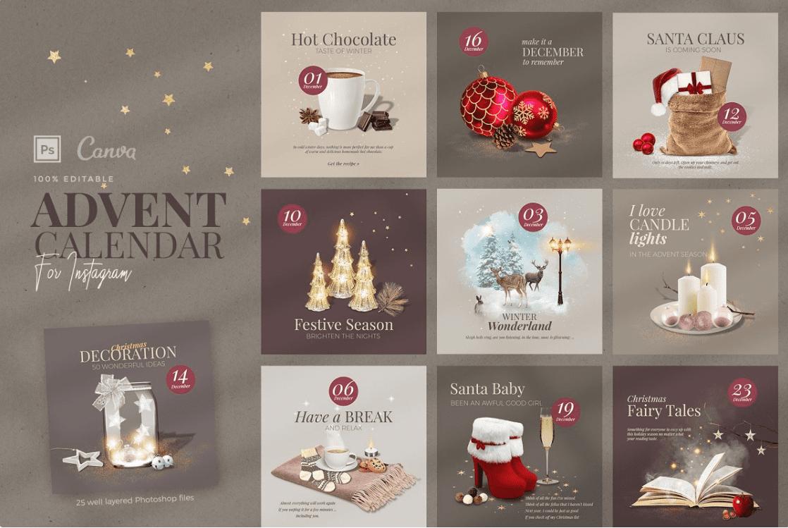 150+ Free Christmas Graphics: Fonts, Images, Vectors, Patterns & Premium Bundles - christmas advent calendar template 11