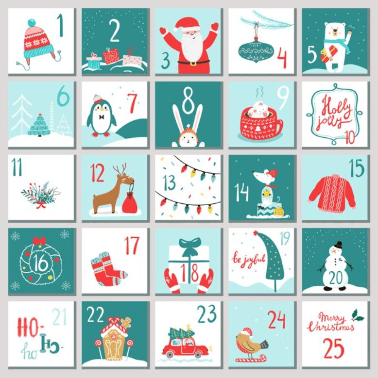 150+ Free Christmas Graphics: Fonts, Images, Vectors, Patterns & Premium Bundles - christmas advent calendar template 3