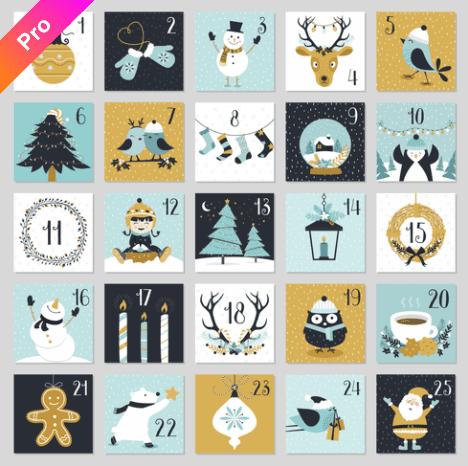 150+ Free Christmas Graphics: Fonts, Images, Vectors, Patterns & Premium Bundles - christmas advent calendar template 4