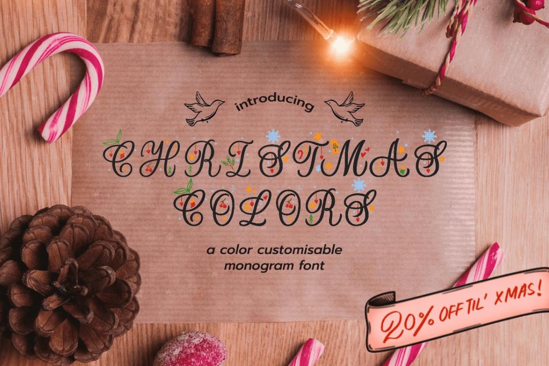 Christmas Colors Monogram Font By Leah Design.