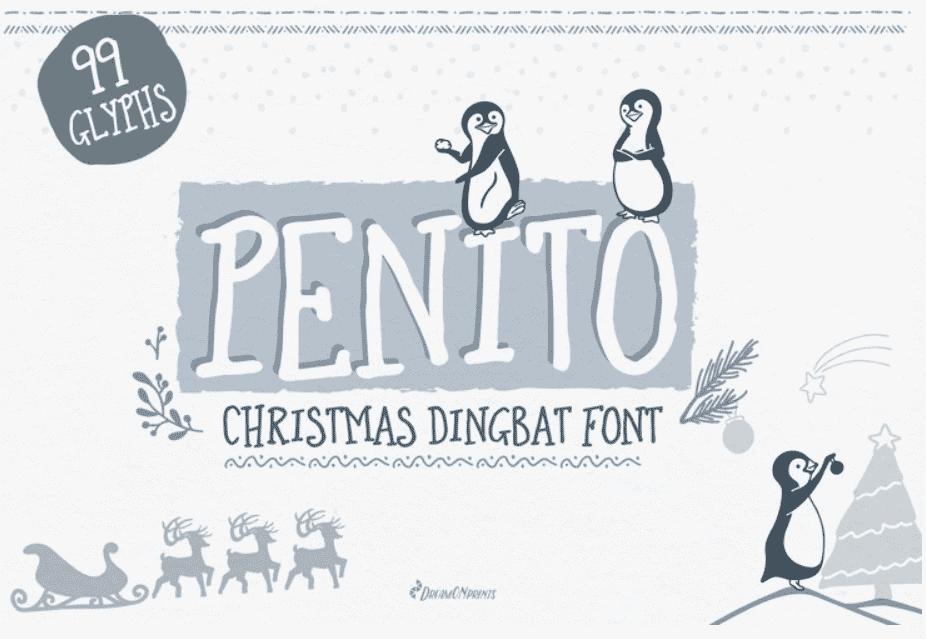 Christmas Font. Penguins Doodle Font.