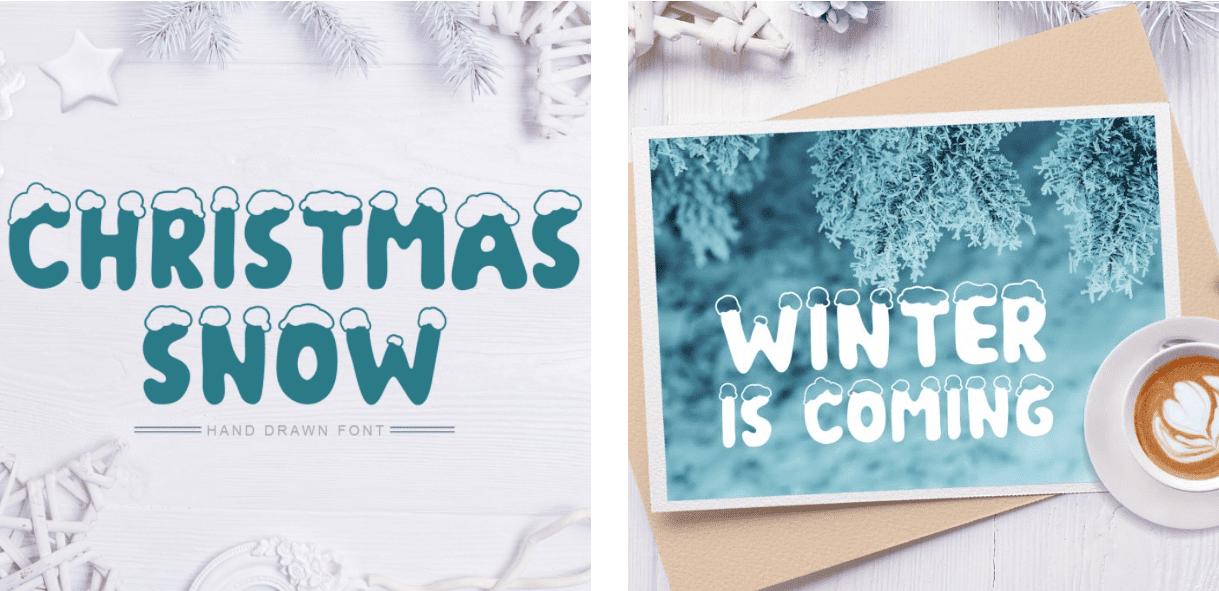 Christmas Snow Hand Drawn Font.
