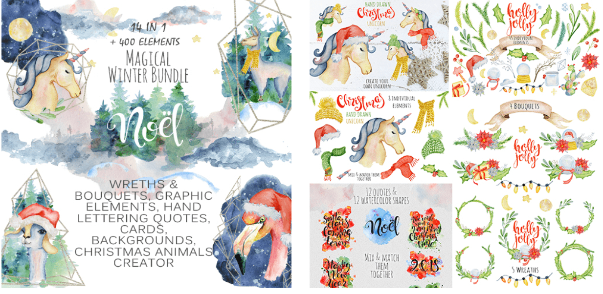 150+ Free Christmas Graphics: Fonts, Images, Vectors, Patterns & Premium Bundles - christmas graphics bundle 1