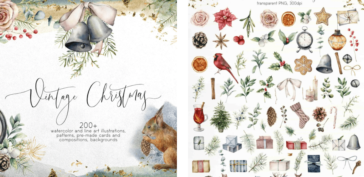 150+ Free Christmas Graphics: Fonts, Images, Vectors, Patterns & Premium Bundles - christmas graphics bundle 4