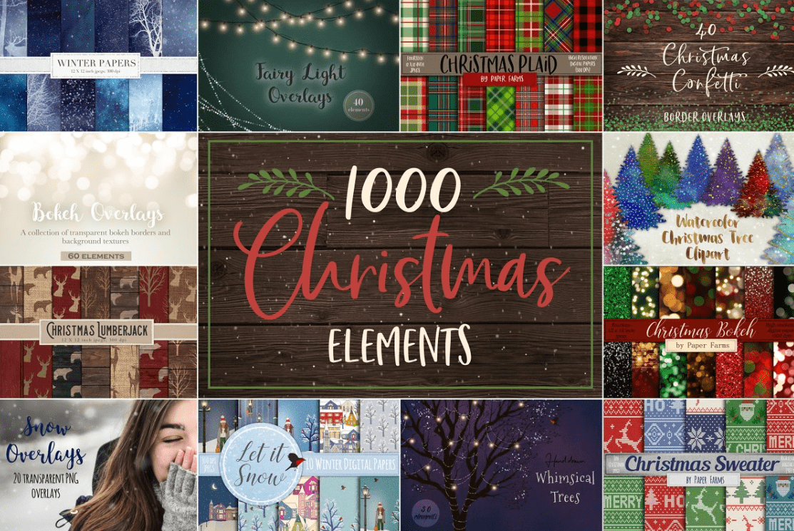 150+ Free Christmas Graphics: Fonts, Images, Vectors, Patterns & Premium Bundles - christmas graphics bundle 5