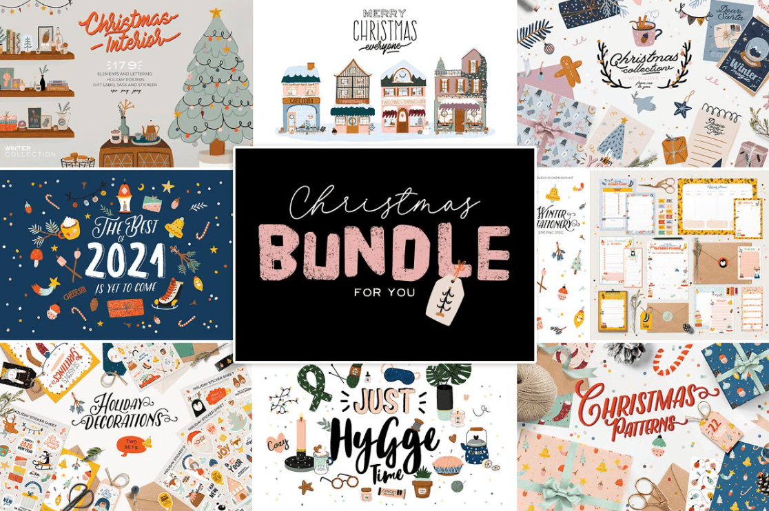 150+ Free Christmas Graphics: Fonts, Images, Vectors, Patterns & Premium Bundles - christmas graphics bundle 6