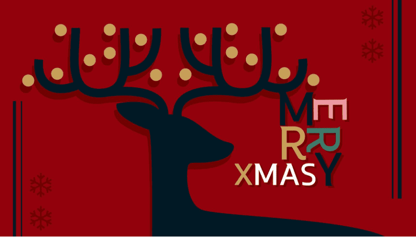 Red Merry Christmas greeting card.