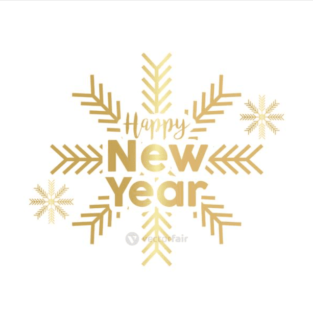 Happy New Year golden lettering with snowflakes.