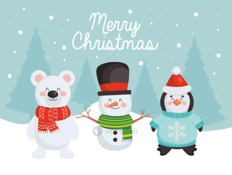 Merry Christmas design with cute snowman, bear and penguin.