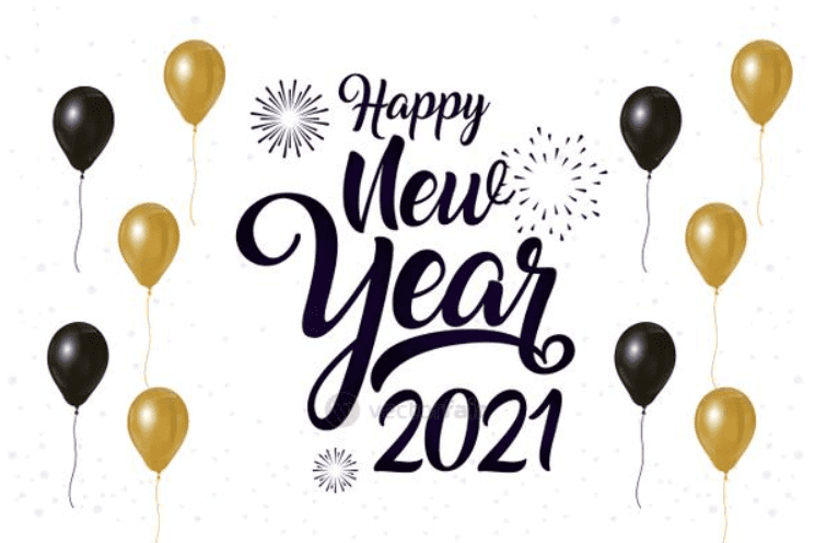 Happy New Year 2021 celebration poster with balloons.