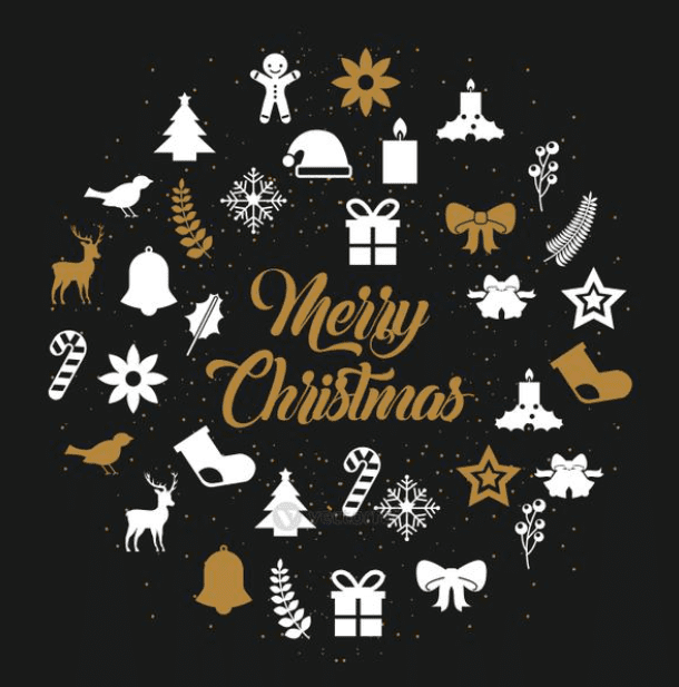 Merry Christmas lettering decoration card design.