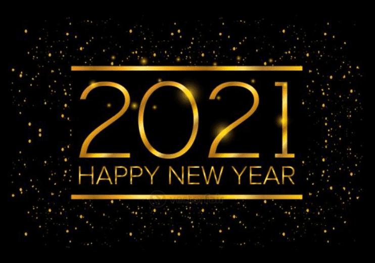Happy New Year 2021 celebration golden poster.