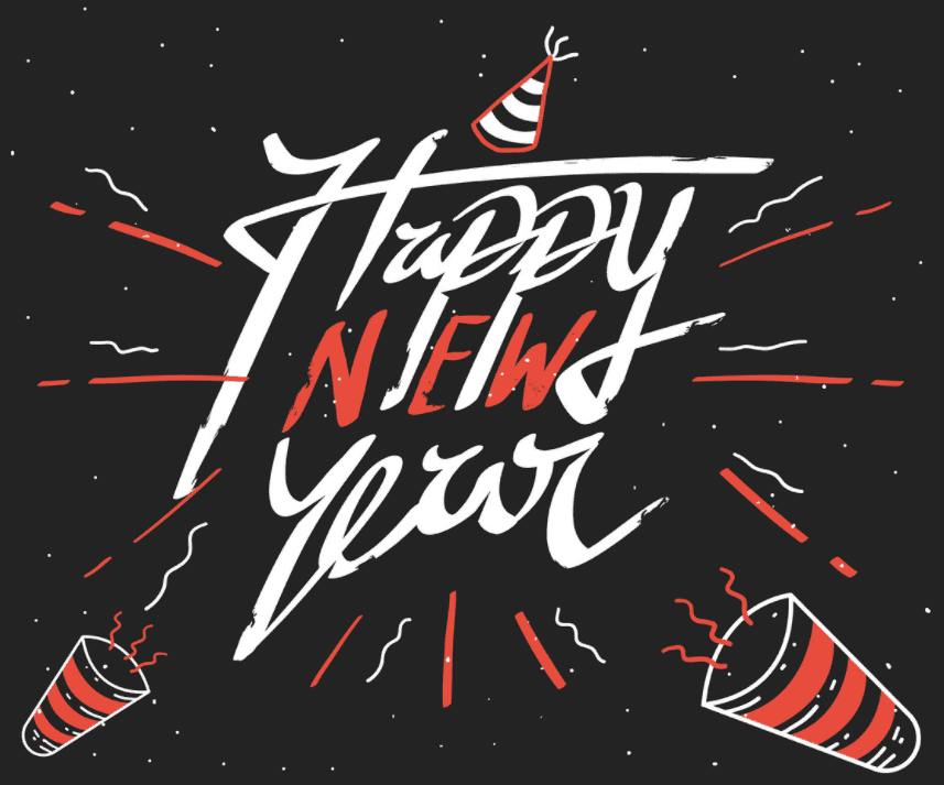 Happy New Year Hand Lettering.