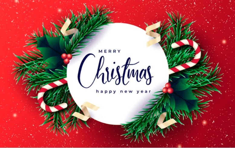 Realistic Christmas banner with branches and red background.