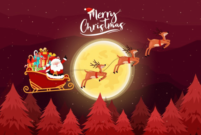 Merry Christmas card with Santa must ride a sleig.
