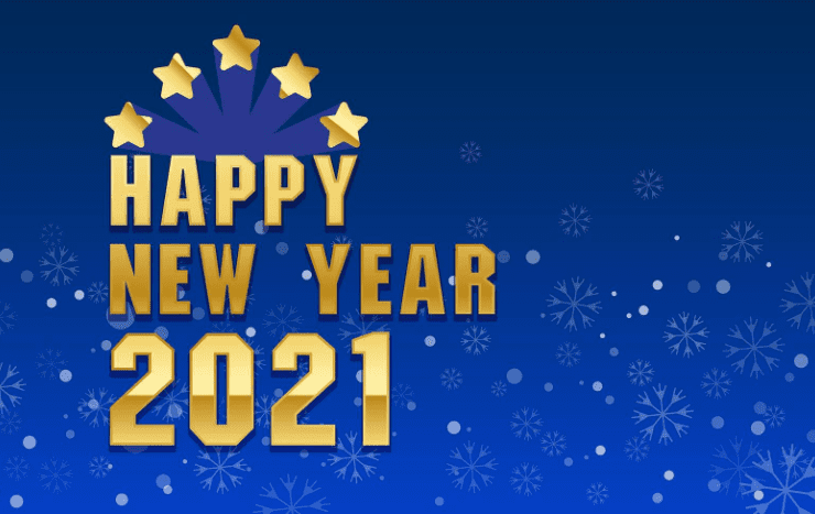 Happy New Year 2021 design with snowflakes.