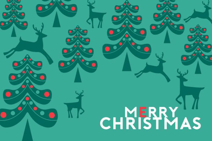 Merry Christmas and pine tree web template.
