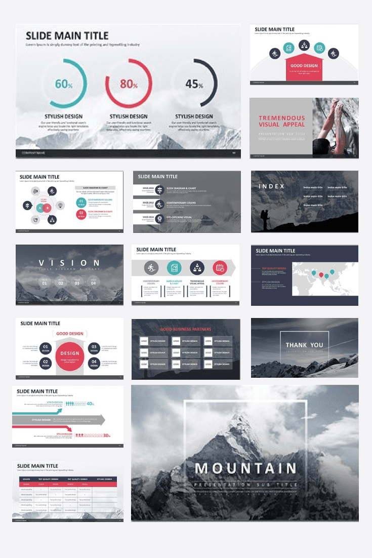 60+ Outstanding Simple PowerPoint Templates 2021: Free & Premium - 03 Mountain PPT