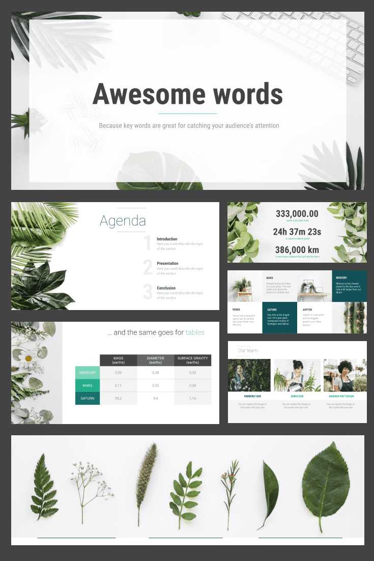 60+ Outstanding Simple PowerPoint Templates 2021: Free & Premium - 06 Green Botanical