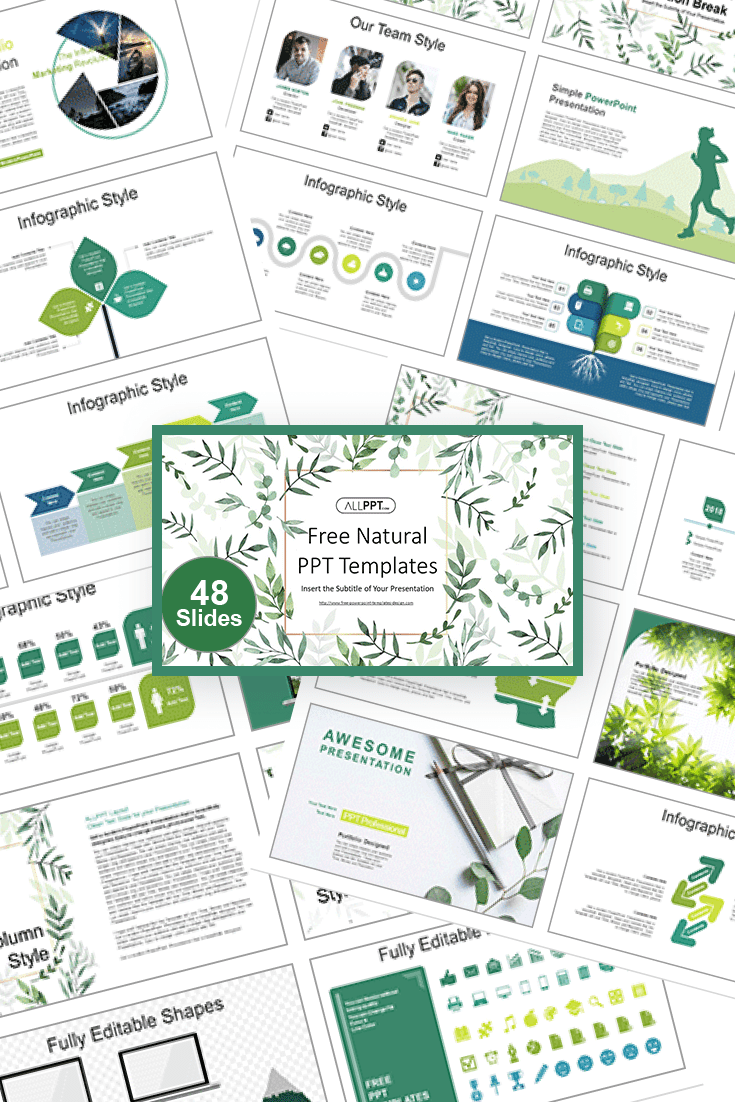 60+ Outstanding Simple PowerPoint Templates 2021: Free & Premium - 07 Natural Leaf PowerPoint Templates