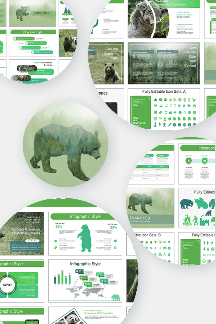 60+ Outstanding Simple PowerPoint Templates 2021: Free & Premium - 08 Silhouette Brown Bear PowerPoint Templates