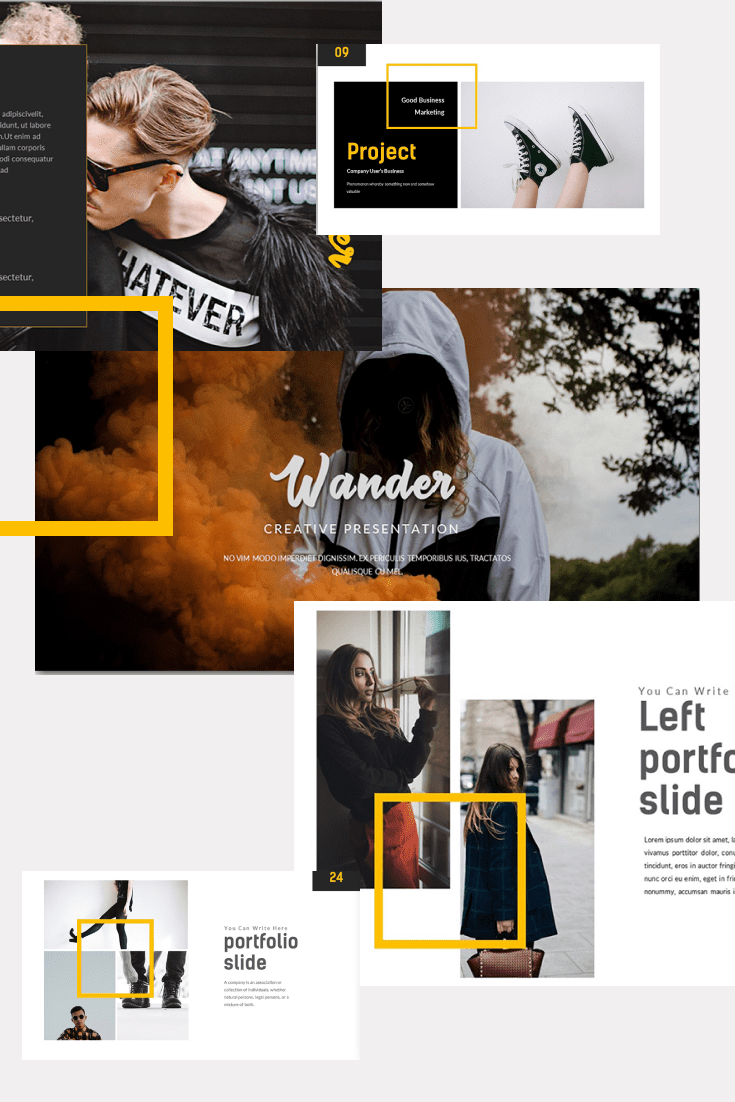 60+ Outstanding Simple PowerPoint Templates 2021: Free & Premium - 20 Wander Creative Presentation PowerPoint Template