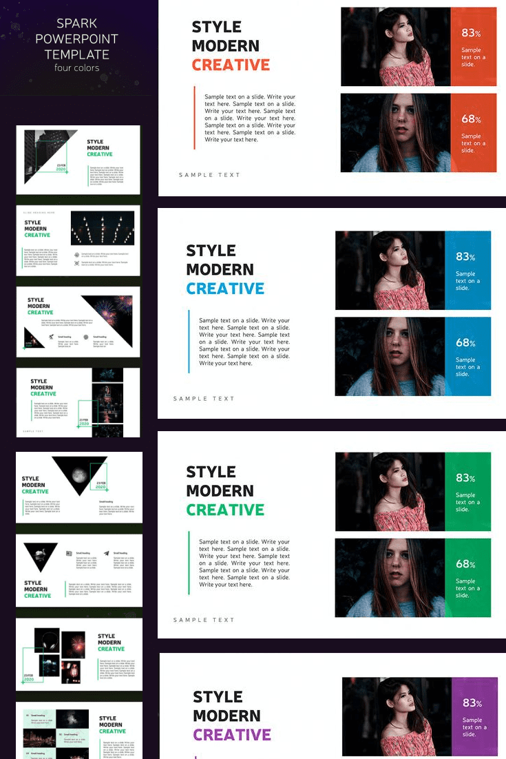 60+ Outstanding Simple PowerPoint Templates 2021: Free & Premium - 27 Dark powerpoint template   4 color themes
