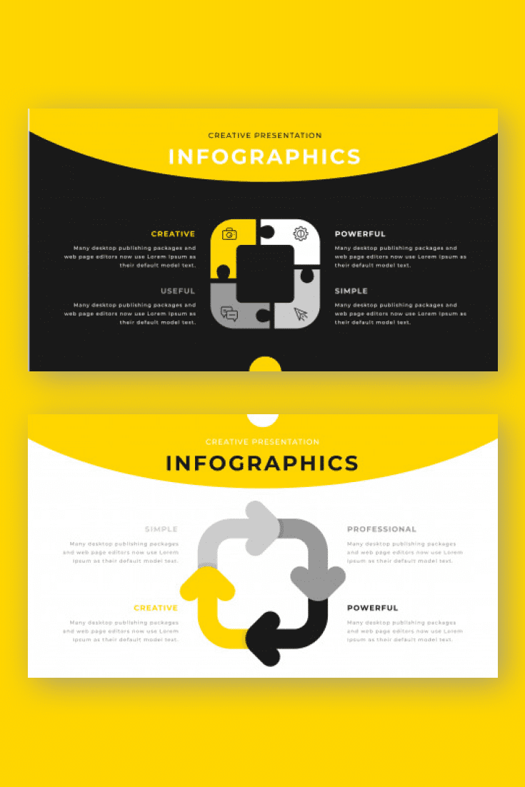 60+ Outstanding Simple PowerPoint Templates 2021: Free & Premium - 33 yellow gray black colored business infographics concept