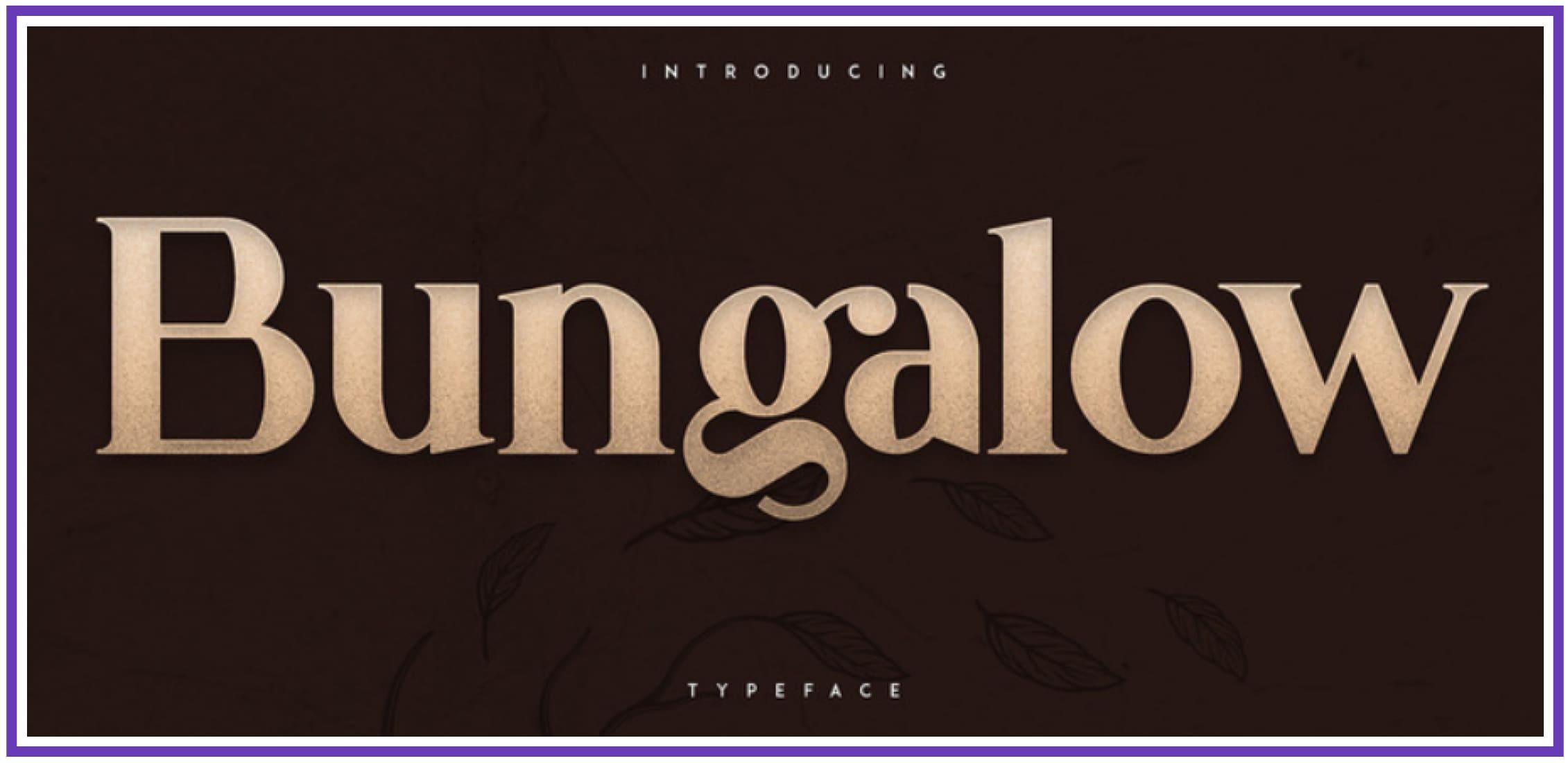 Elegant Bungalow. Punk Font.