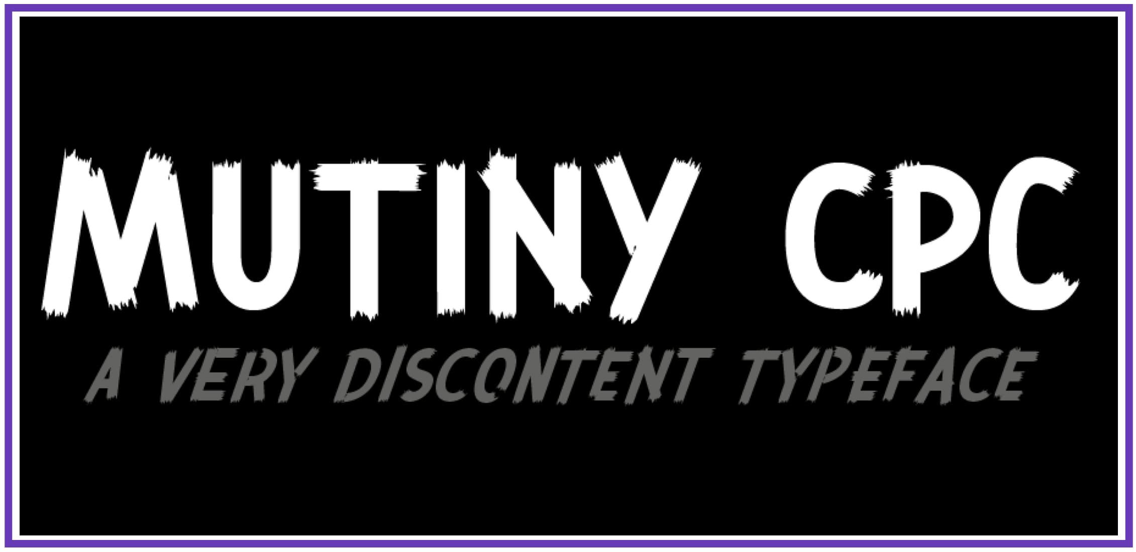 Spectacular Mutiny CPC. Punk Font.