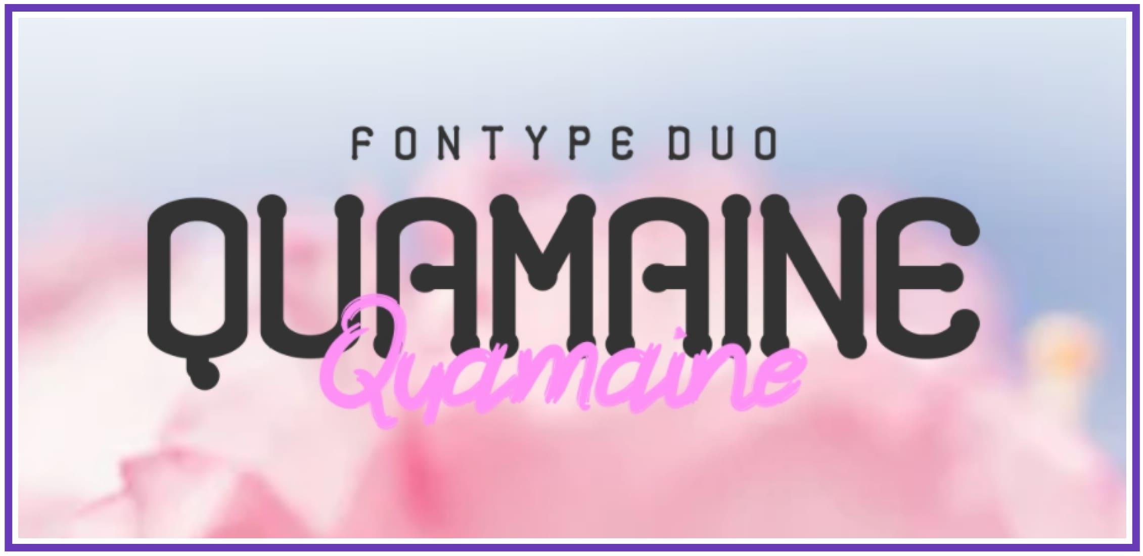 Beautiful Quamaine. Masculine Font.