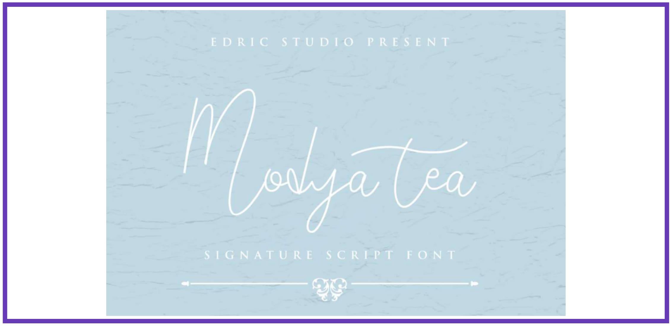 Terrific Modya Tea. Masculine Font.