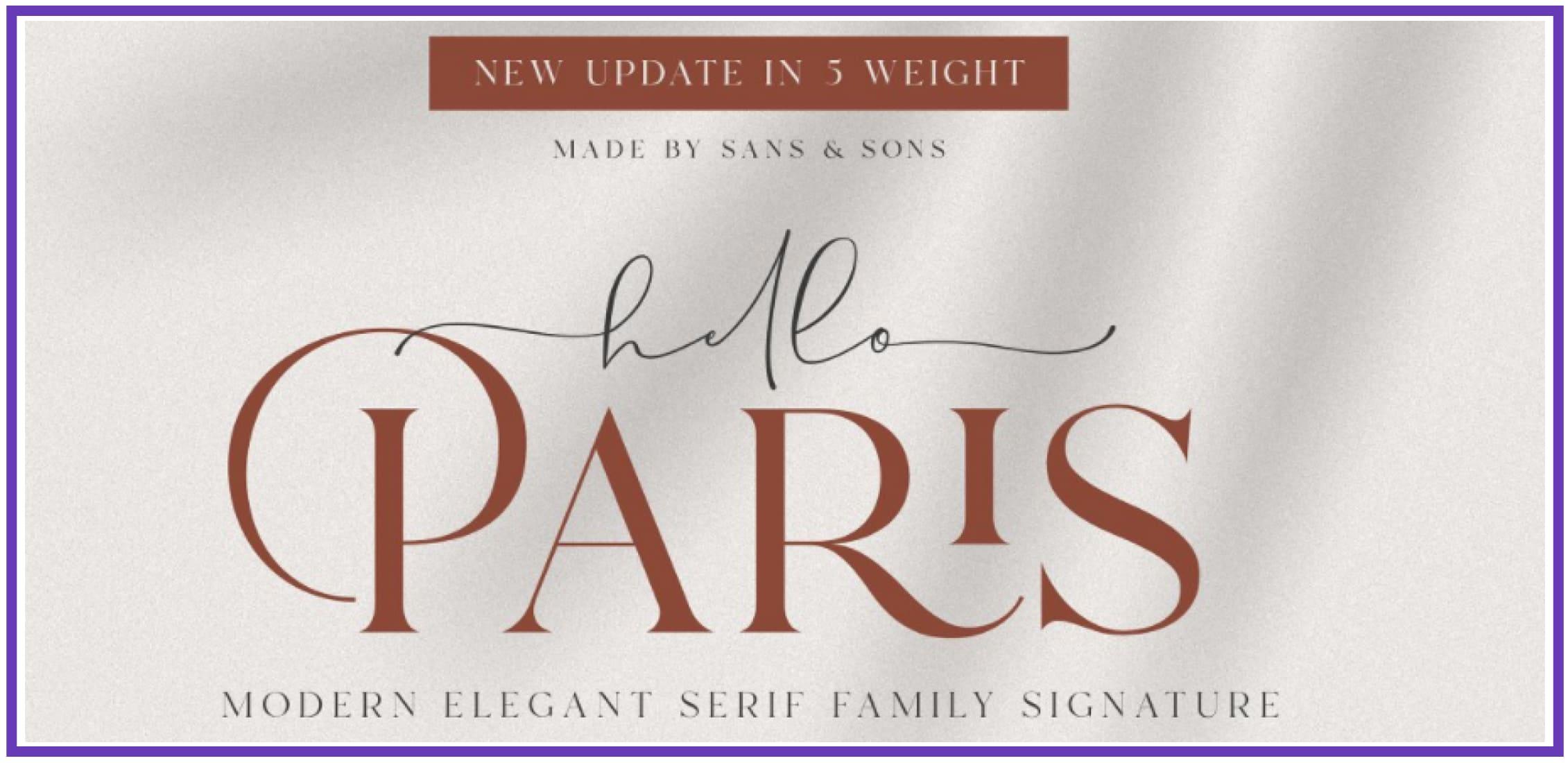 Stunning Hello Paris. Masculine Font.