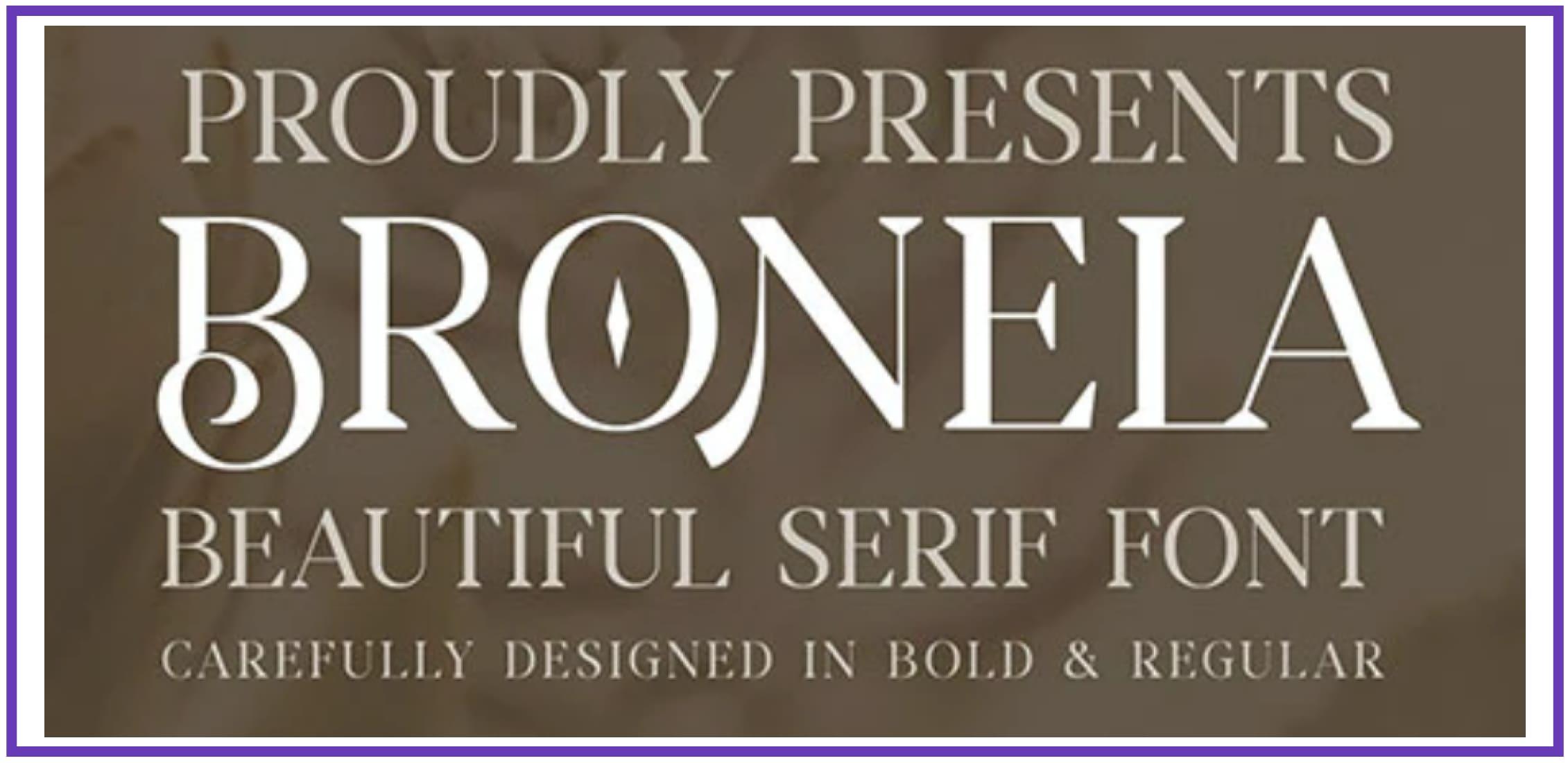 Enthralling Bronela. Masculine Font.