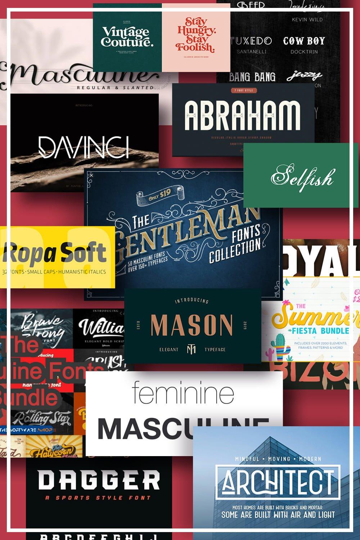 Best Masculine Fonts. Pinterest Image.