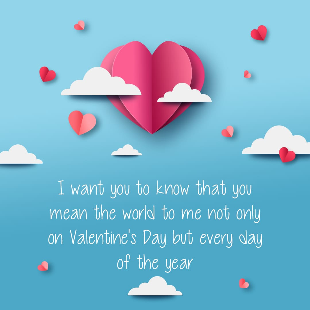 I want you to know that you mean the world to me not only on Valentine's Day but every day of the year.