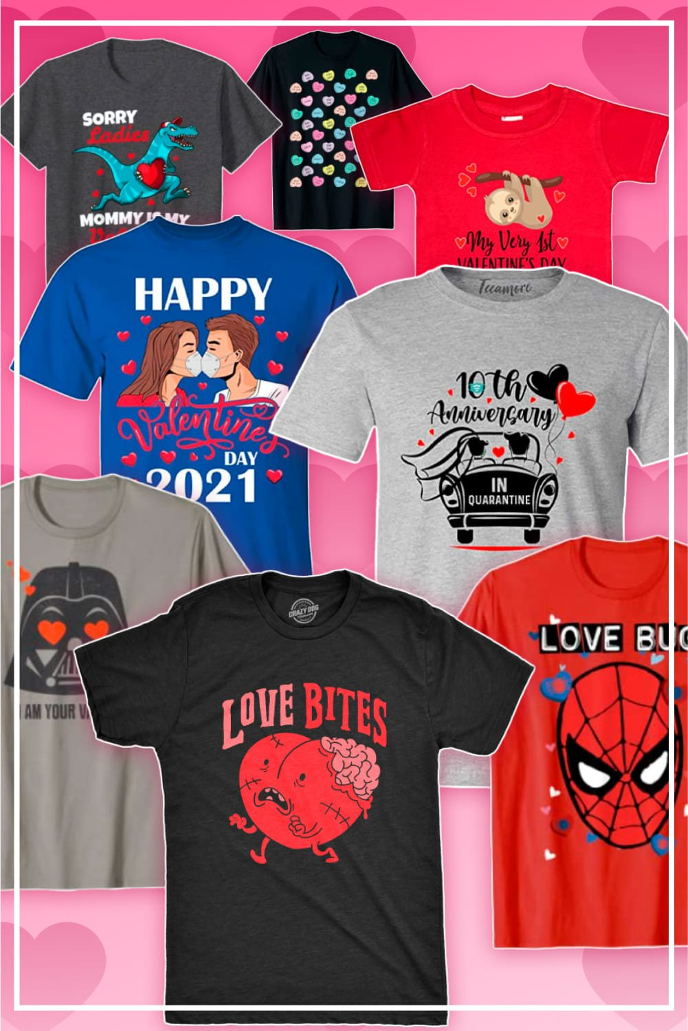 Valentines Day T-Shirts. Pinterest Image.