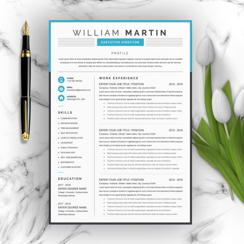 Project Manager Resume Template - 01 Clean Professional Creative and Modern Resume CV Curriculum Vitae Design Template MS Word Apple Pages PSD Free Download 14 490x490