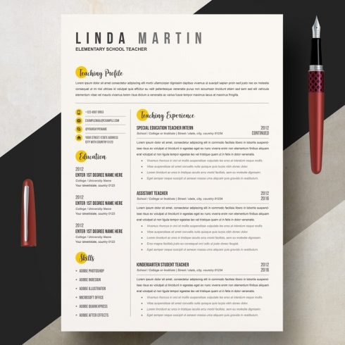High School Teacher Resume Template - 01 Clean Professional Creative and Modern Resume CV Curriculum Vitae Design Template MS Word Apple Pages PSD Free Download 2 490x490