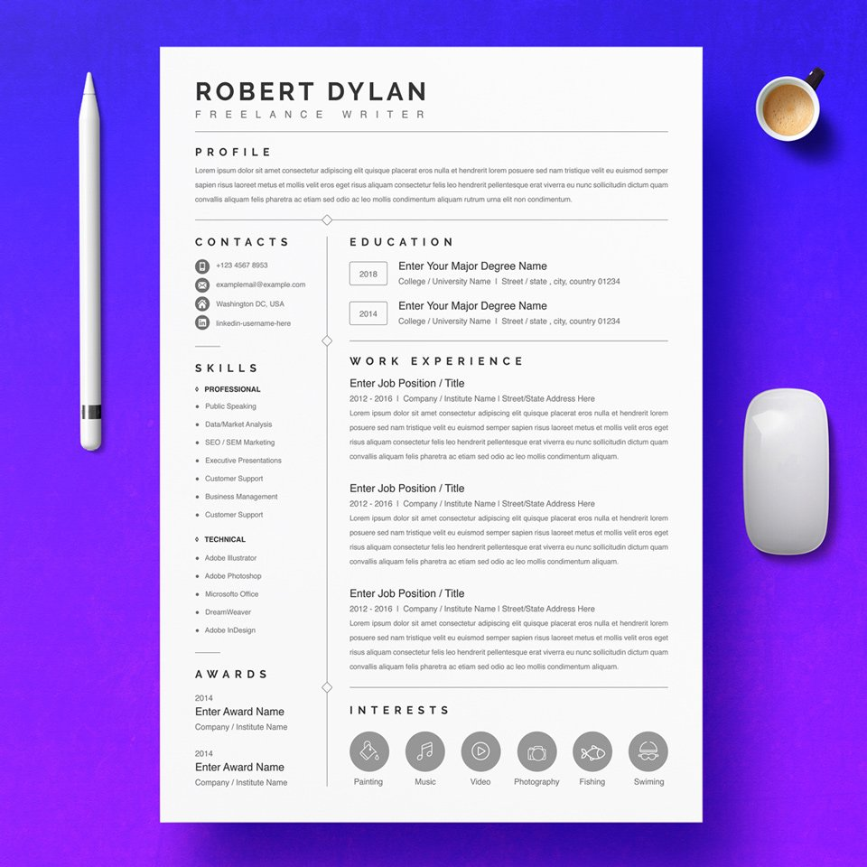 This beautiful and simple resume will be able to fully reflect all your achievements.