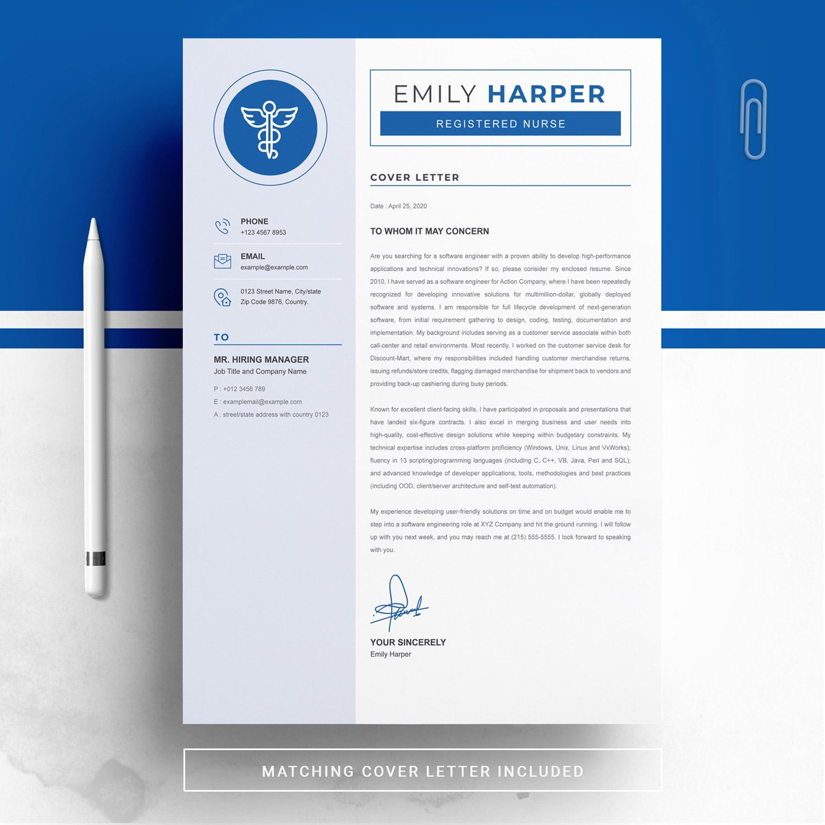Cover letter's design of this resume. New Nurse Resume CV Template.