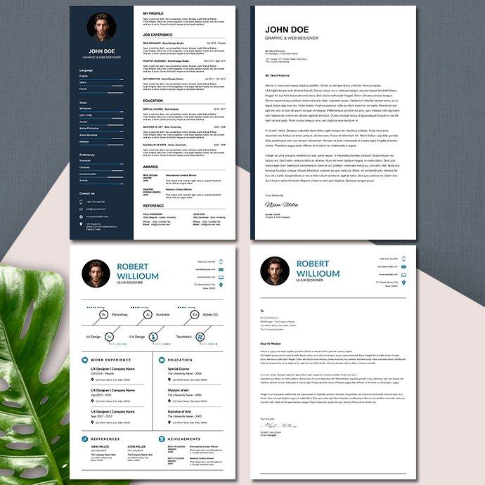 10 Minimalist Resume Template Bundle