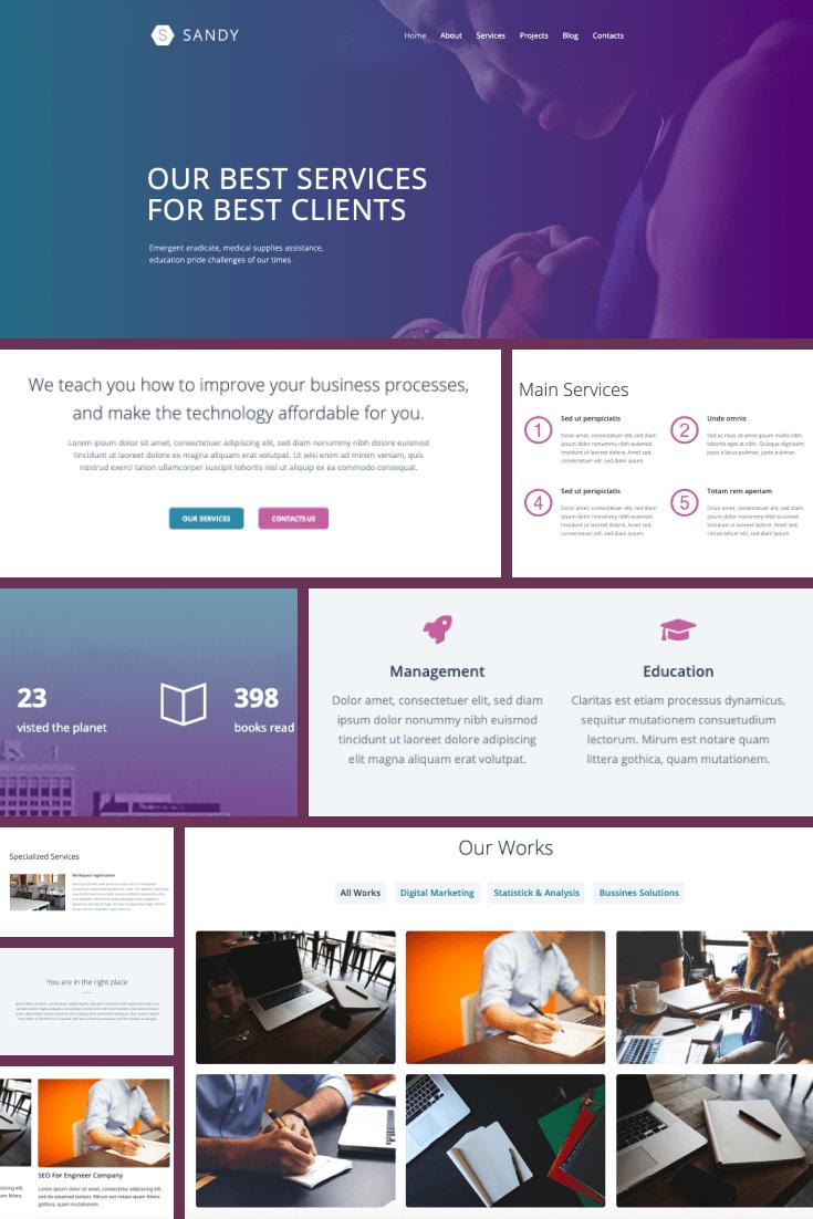 Wordpress Theme Sandy. Collage.