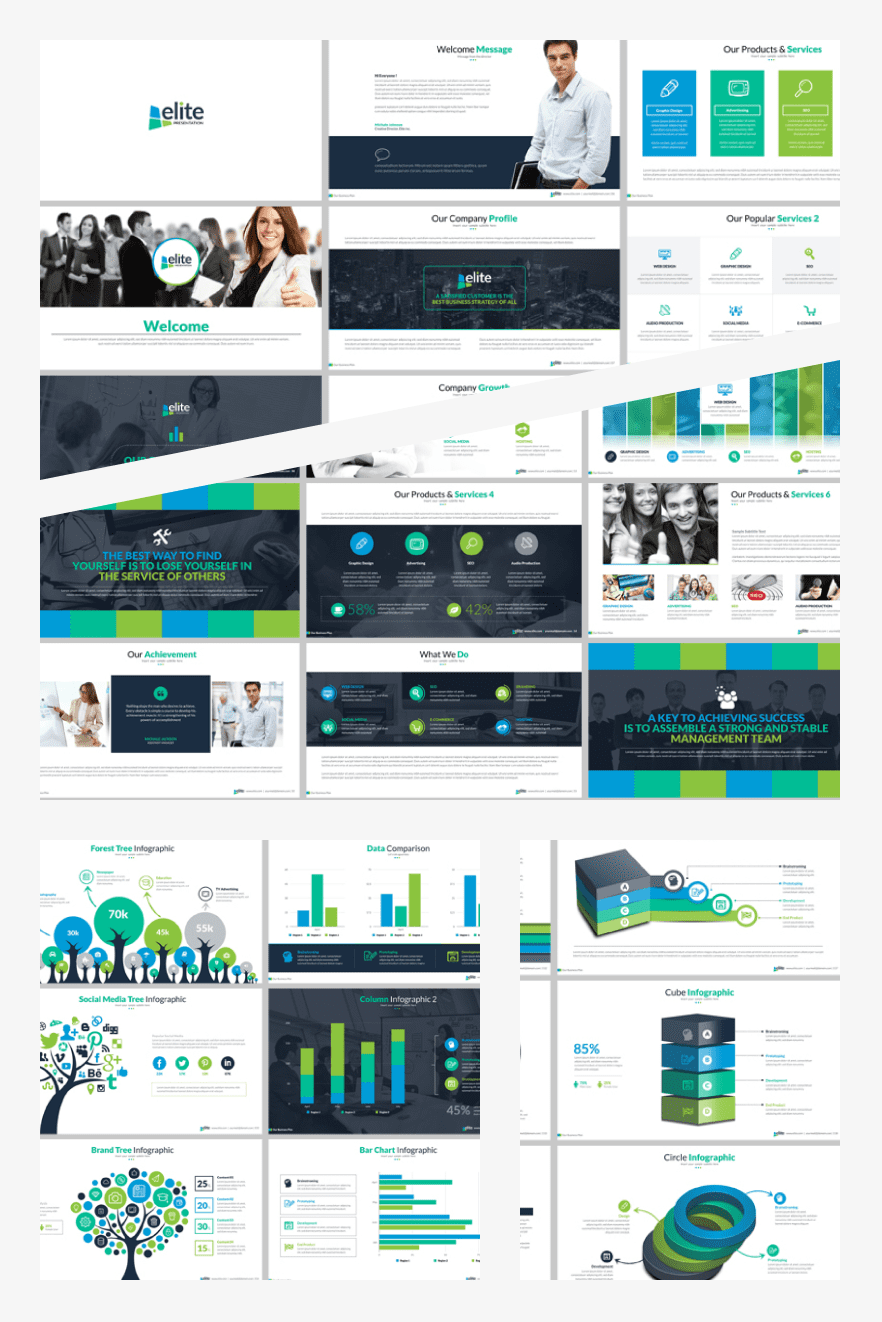 Multipurpose Business - Keynote Template. Collage Image.